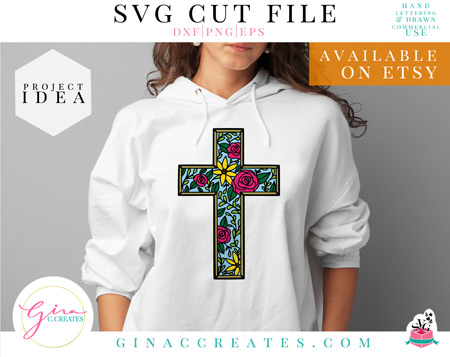 floral cross svg cut file, easter svg etsy