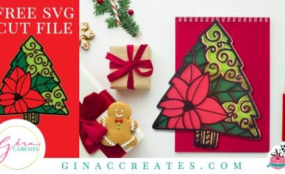 3D Paper Poinsettia Christmas Tree SVG Cut File