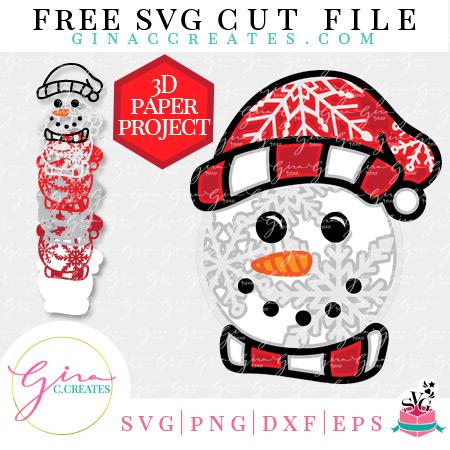 free 3D snowman SVG, Christmas Crafts