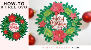 free svg 3D paper Christmas wreath