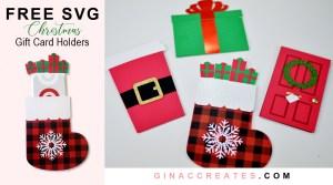 free christmas svg gift card holder