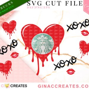 melting heart xoxo valentine's day cup wrap svg