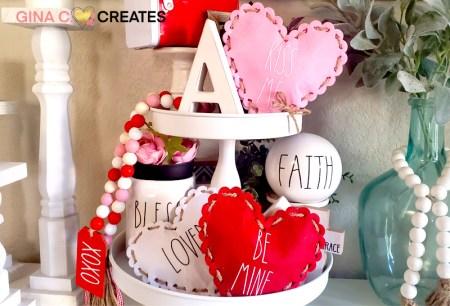 diy rae dunn inspired mini heart pillows