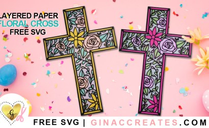 Layered Floral Cross Free SVG Cut File