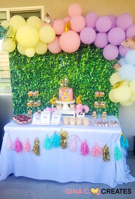 butterfly birthday dessert table