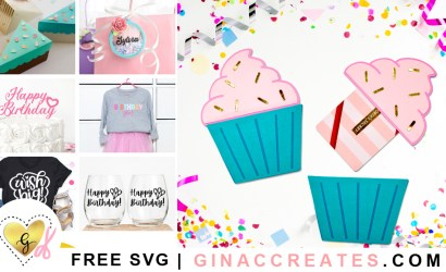 DIY Cupcake Gift Card Holder Free Birthday SVG Files