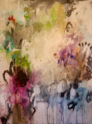 """""""A Proper Hissy"""" 48x36 mixed media on gallery wrapped canvas"""
