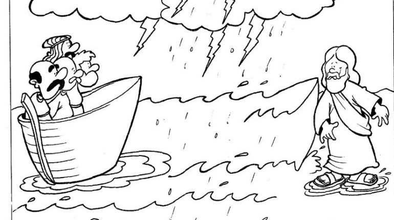 In a boat, in a storm
