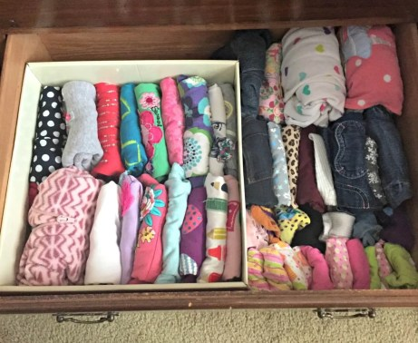 My daughter's clothes, minus jackets and dresses, fit into one drawer.