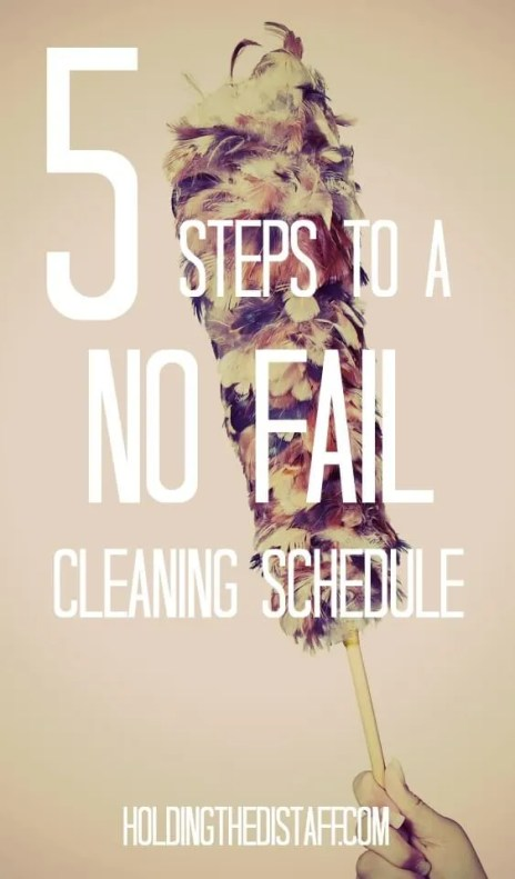 5 Steps To a No Fail Cleaning Schedule: learn how to come up with a cleaning system that works, so you can feel less stress and guilt about your home.