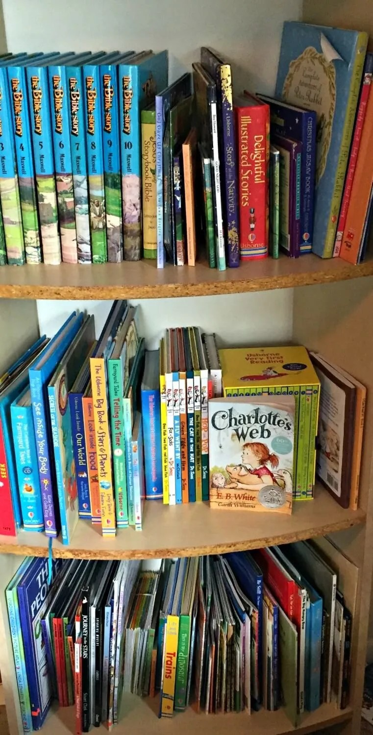 Tidy Kids' Bookshelf After KonMari Decluttering Method