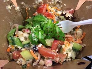massive fresh salad with hummus