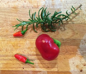 Shot showing the fresh chillies and rosemary.