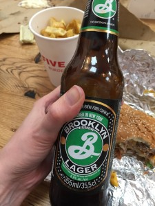 Close up of the bottle of Brooklyn lager.