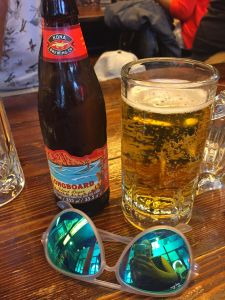 Close up shot of Kona Longboard lager and my Rayban sunnies