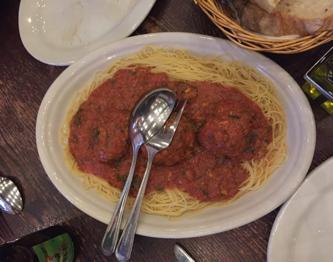 Spaghetti and meatballs at Carmine's