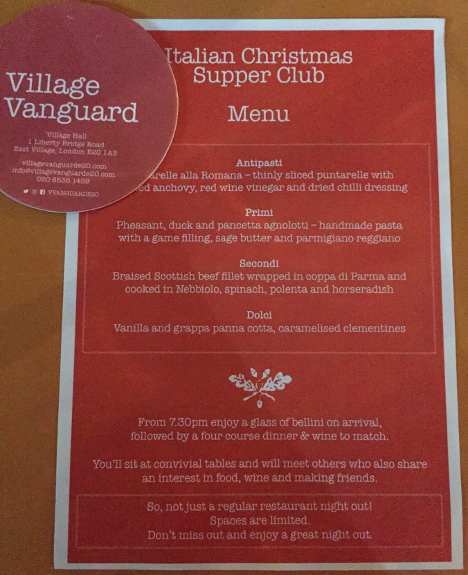 Flyer for the Village Vanguard Italian Christmas Supper Club
