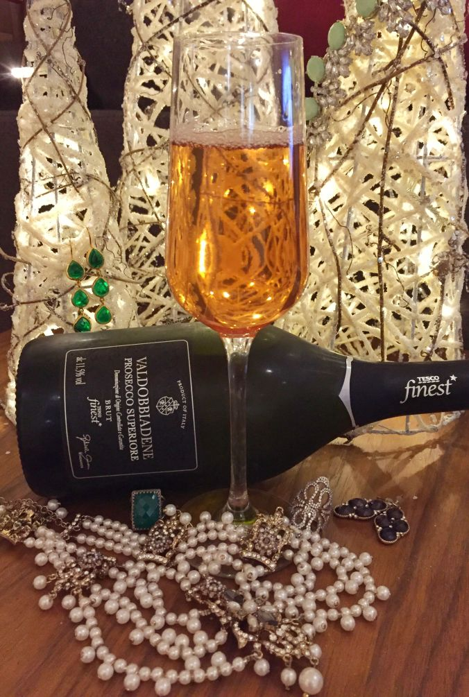 Shot of the Kir Royale, the Tesco's Finest Prosecco and some matching NYE jewels!