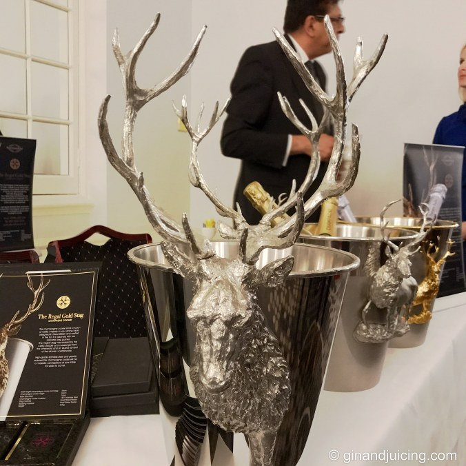 Carynx of London's beautiful pewter champagne cooler with the carved stag on the sides