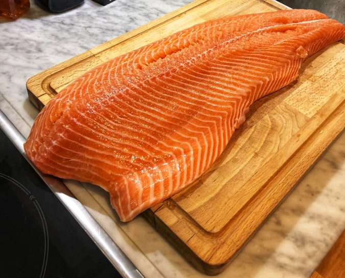A whole side of wild caught salmon