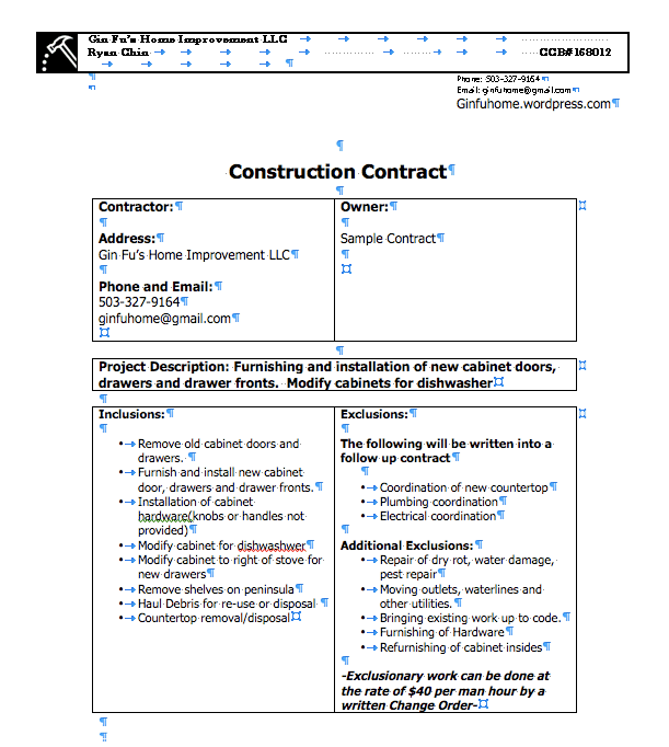 kitchen remodeling contract sample bulletin board | gin fu's home improvement llc