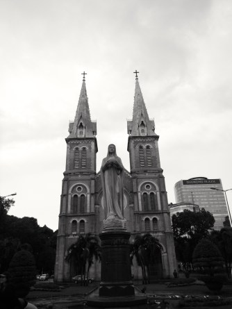 Notre Dame and Statue of Mary