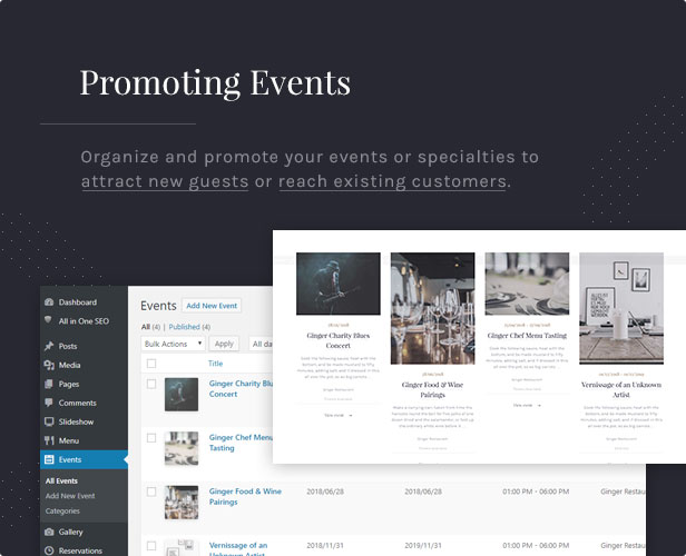 Promoting Events: Organize and promote your events or specialties to attract new guests or reach existing customers.