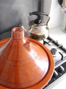 The tagine steaming away