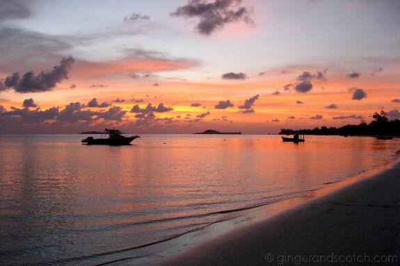 Watching the sunset in Praslin