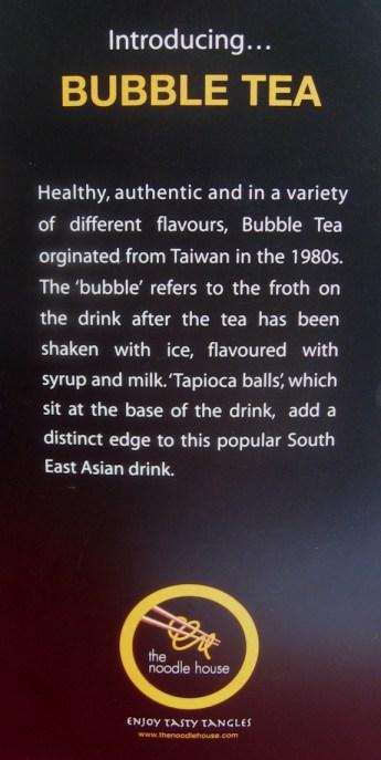 bubble tea at Noodle House