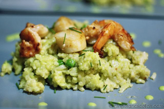 Sweet Pea Risotto with Scallops and Shrimp
