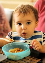Little A eating lamb biryani