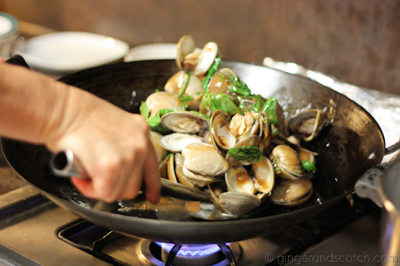 Clams are tossed in the sauce