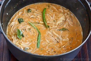 Simmering with coconut milk and shrimp stock