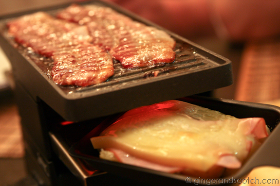 Raclette grill in use