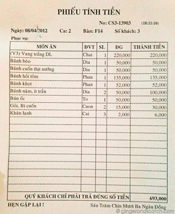 Nha Hang Ngon receipt