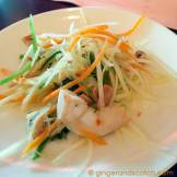 Green papaya with shrimp, cherry tomatoes and green herb lime dressing