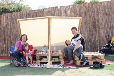 Food Truck Brunch - Our picnic table and sunshade