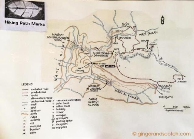 Jabal Al Akhdar Hiking Map