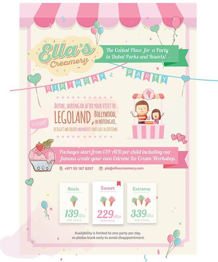 Ella's Creamery Party Package Flyer