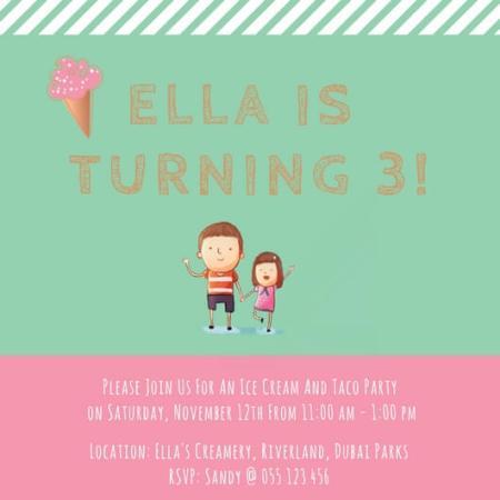 Birthday Party Invite to Ella's Creamery