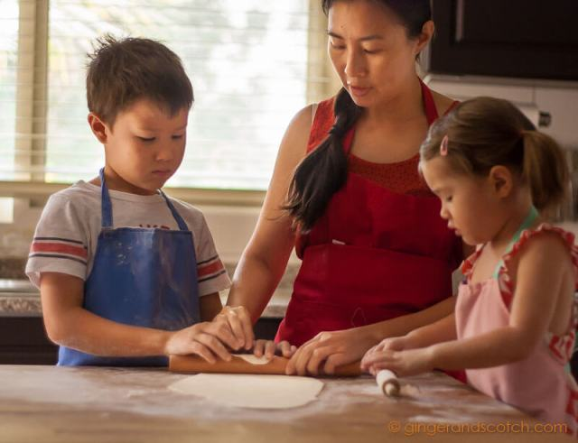 Kids and I making homemade Chinese noodles
