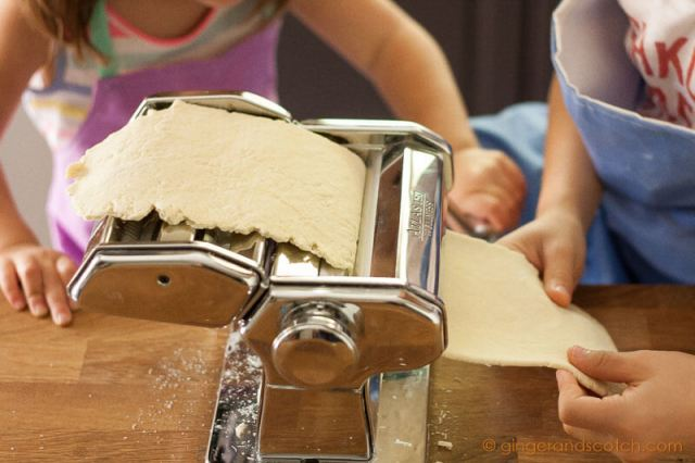 Third pass of ramen dough through the pasta machine