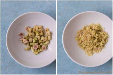 Cutting up lemongrass for Vietnamese Mi Bo Sate