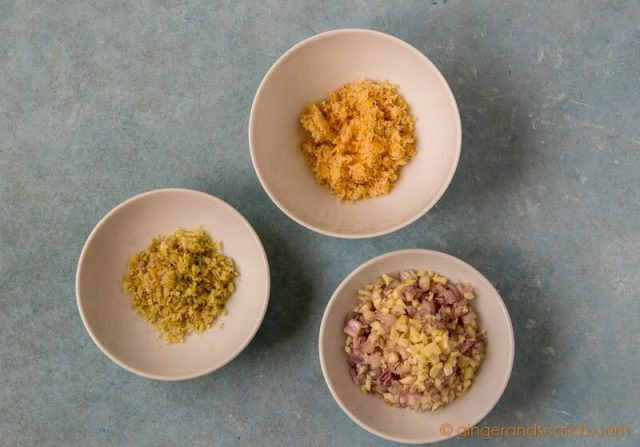 Prepping Vietnamese Mi Bo Sate Ingredients