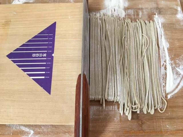 Cutting Soba Noodles with Soba Knife and Wooden Guide