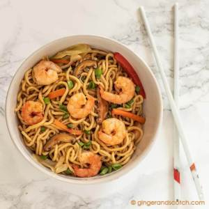 Homemade Chinese Egg Noodles - Shrimp Lo Mein