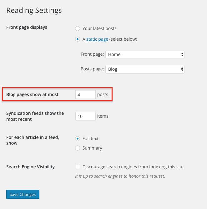 screenshot of the WordPress - Settings -> Reading options