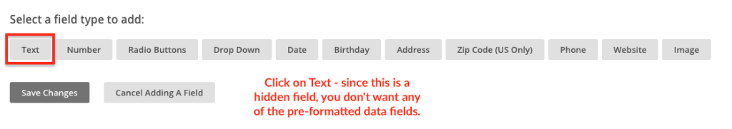 screen shot from MailChimp adding a new merge tag field data types