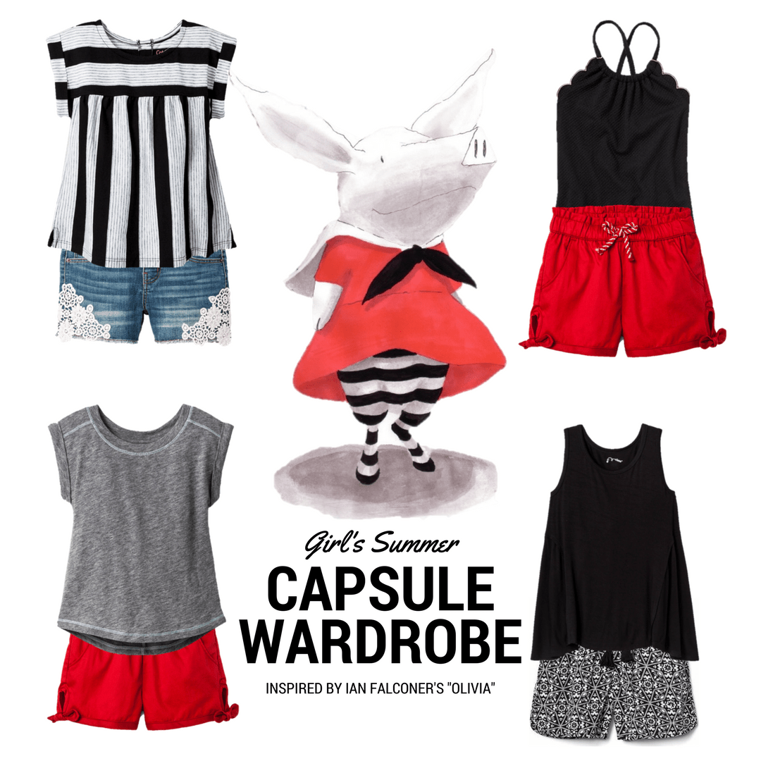 """Girls' Summer Capsule Wardrobe inspired by Ian Falconer's book """"Olivia,"""" about an energetic little piglet. Black, white, grey, and red coordinating wardrobe for summer time!"""